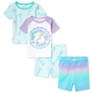 Baby And Toddler Girls Short Sleeve Glitter 'Mermaid In Training' Tops And Print Shorts 4-Piece Snug Fit Pajamas