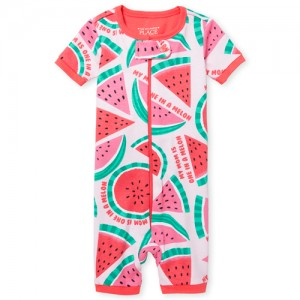 Baby And Toddler Girls Short Sleeve 'One In A Melon' Watermelon Print Cropped Snug Fit Stretchie