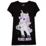 Girls Short Sleeve Glitter 'Floss Boss' Unicorn Graphic Tee