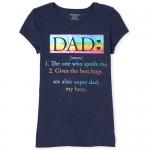 Girls Short Sleeve Rainbow Foil Dad Definition Graphic Tee