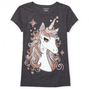 Girls Short Sleeve Glitter Unicorn Graphic Tee