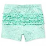 Baby Girls Foil Star Print Ruffle Knit Shorts
