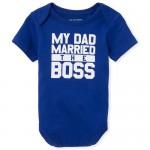 Baby Boys Short Sleeve 'The Boss' Graphic Bodysuit