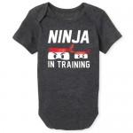 Baby Boys Short Sleeve 'Ninja In Training' Graphic Bodysuit