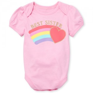 Baby Girls Short Sleeve Glitter 'Best Sister' Rainbow Heart Graphic Bodysuit