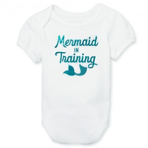 Baby Girls Mommy And Me Short Sleeve Glitter 'Mermaid' Matching Bodysuit