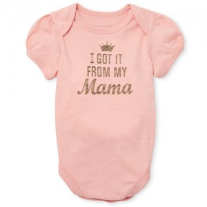 Baby Girls Mommy And Me Short Sleeve Foil 'I Got It From My Mama' Matching Graphic Bodysuit