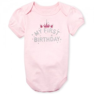 Baby Girls Short Sleeve Glitter 'My First Birthday' Unicorn Graphic Bodysuit