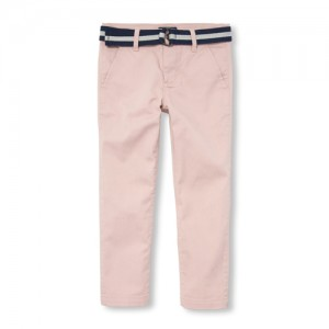 Boys Belted Woven Skinny Chino Pants