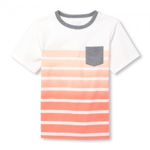 Boys Short Sleeve Striped Pocket Top