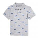Boys Short Sleeve Bike Print Jersey Polo