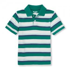 Boys Short Sleeve Striped Pique Polo