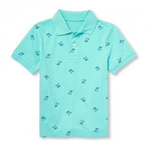 Boys Short Sleeve Palm Print Jersey Polo
