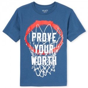 Boys Short Sleeve 'Prove Your Worth' Basketball Graphic Tee
