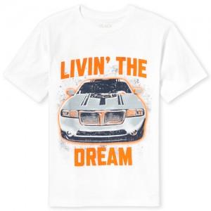 Boys Short Sleeve 'Livin' The Dream' Car Graphic Tee