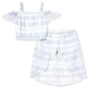 Girls Short Sleeve Floral Print Off Shoulder Top And Woven High Low Maxi Skort Set