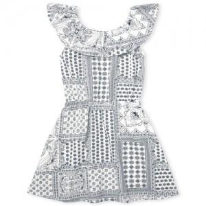 Girls Short Sleeve Print Ruffle Knit Dress