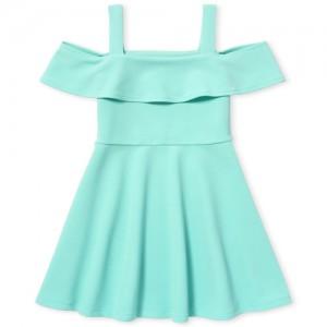 Girls Short Sleeve Ruffle Woven Cold Shoulder Dress