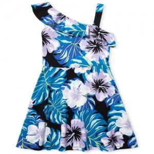 Girls Sleeveless Floral Print Ponte Knit One Shoulder Dress