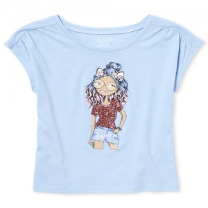 Girls Short Sleeve Embellished Graphic Top