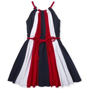Girls Americana Sleeveless Striped Knit Skater Dress