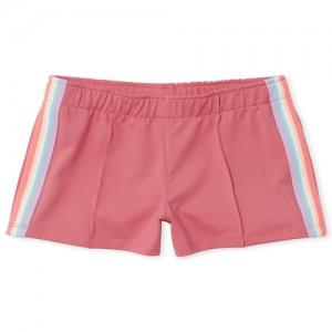 Girls Active Rainbow Side Stripe Knit Shorts