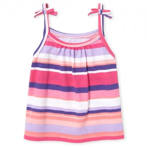Baby And Toddler Girls Matchables Sleeveless Print Tie Shoulder Top