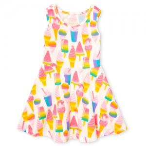 Baby And Toddler Girls Sleeveless Ice Cream Print Knit Dress