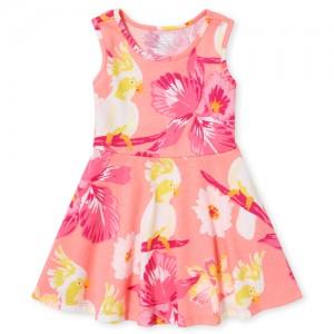 Baby And Toddler Girls Sleeveless Bird Print Knit Skater Dress