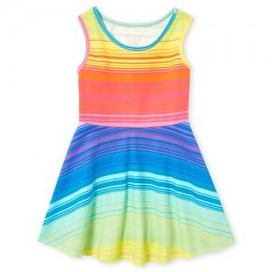 Baby And Toddler Girls Sleeveless Rainbow Striped Knit Skater Dress