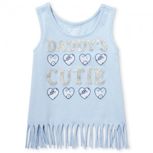 Baby And Toddler Girls Matchables Glitter Graphic Fringe Hem Tank Top