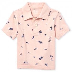 Baby And Toddler Boys Short Sleeve Print Jersey Polo