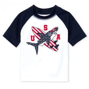 Baby And Toddler Boys Americana Short Raglan Sleeve 'USA' Shark Graphic Rashguard