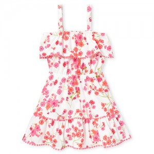 Baby And Toddler Girls Sleeveless Floral Print Pom Pom Ruffle Knit Tier Dress