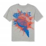 Boys Short Sleeve 'Hashtag Bring It' Basketball Graphic Tee