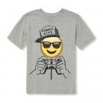 Boys Short Sleeve 'Hashtag Gamer 4 Life' Emoji Graphic Tee