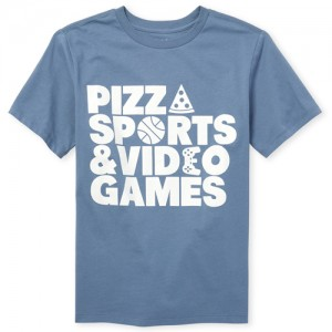 Boys Short Sleeve 'Pizza Sports And Video Games' Graphic Tee
