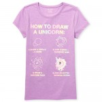 Girls Short Sleeve Glitter 'How To Draw A Unicorn' Graphic Tee