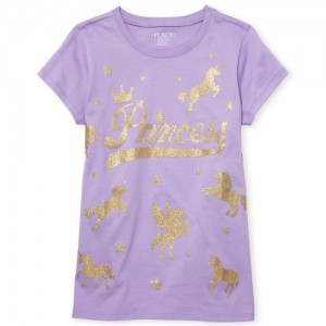 Girls Short Sleeve Glitter 'Princess' Unicorn Graphic Tee