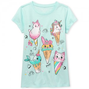 Girls Short Sleeve Critter Dessert Emojis Graphic Tee