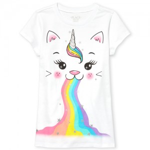 Girls Short Sleeve Rainbow Glitter Caticorn Graphic Tee