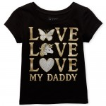 Baby And Toddler Girls Short Sleeve Glitter 'Love My Daddy' Graphic Tee