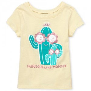 Baby And Toddler Girls Short Sleeve Glitter 'Fabulous Like Mommy' Cactus Graphic Tee