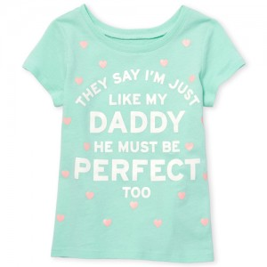 Baby And Toddler Girls Short Sleeve Glitter 'Just Like My Daddy' Graphic Tee