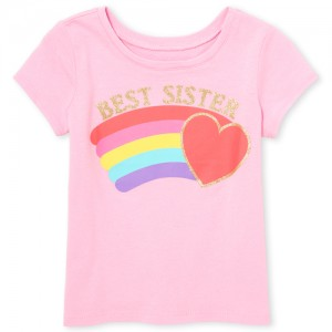Baby And Toddler Girls Short Sleeve Glitter 'Best Sister' Rainbow Heart Graphic Tee