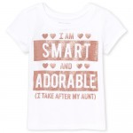 Baby And Toddler Girls Short Sleeve Glitter 'I Take After My Aunt' Graphic Tee