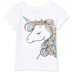 Baby And Toddler Girls Short Sleeve Rainbow Glitter Unicorn Graphic Tee