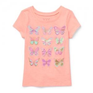 Baby And Toddler Girls Short Sleeve Glitter Butterfly Neon Graphic Tee