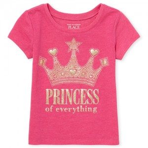 Baby And Toddler Girls Short Sleeve Glitter 'Princess Of Everything' Crown Graphic Tee