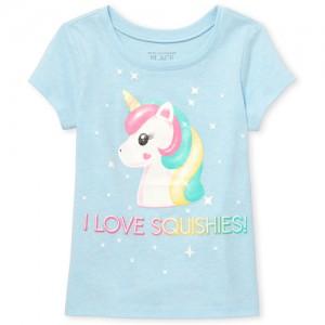 Baby And Toddler Girls Glitter 'I Love Squishies' Unicorn Graphic Tee